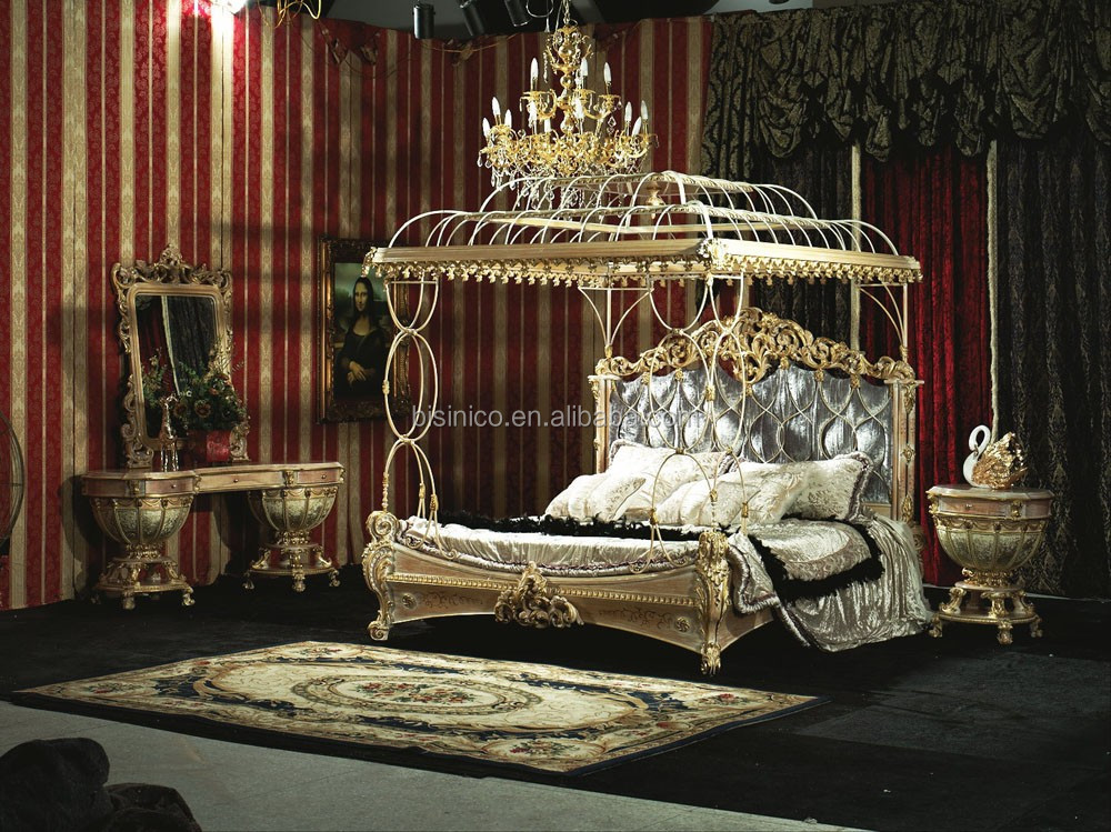 Bisini New Classical Ialian Style Round Bed Solid Wood