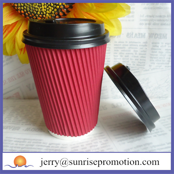 Personalized disposable paper ripple wall red coffee cups