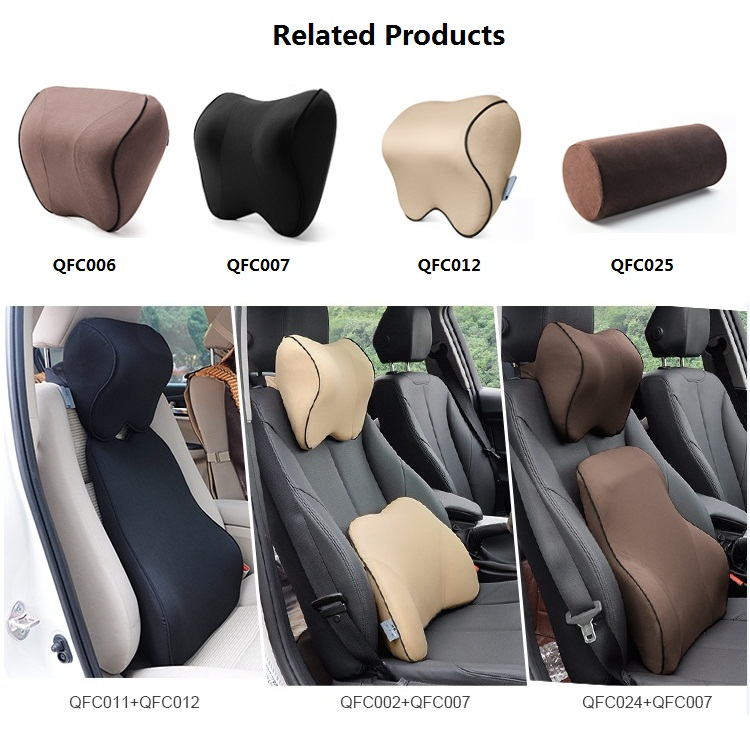 Car Headrest Neck Support Pillow Adjustable Strap Memory Foam Seat