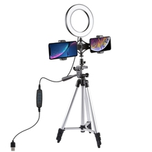 PULUZ <span class=keywords><strong>Statief</strong></span> Mount + Live-uitzending Dual Telefoon Beugel + 6.2 inch LED Ring Vlogging Video Licht Kits