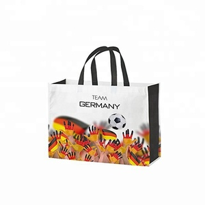 china shopper 2 handles polypropylene, football World Cup print importer wholesale pp woven bag laminated shopping tote bag