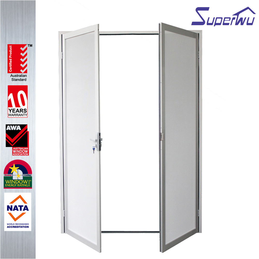 Lobby entrance door 2 panel aluminium double hinge door with flyscreen