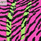 Nanyee Textile Neon Hot Pink Lime Tiger Zebra Skin Flip Sequin fabric On White Satin Backing