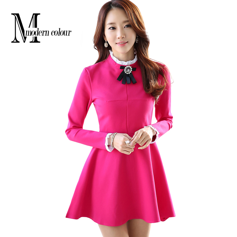 e0a6abd8410 Get Quotations · 2015 Autumn Dress Casual Women Dress Winter New Korean  Style Fashion Cute Purple Black Long Sleeve