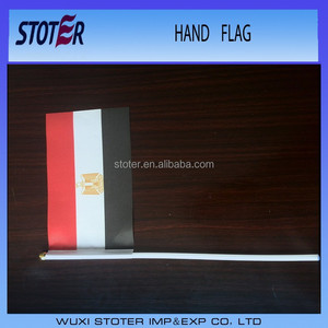 Egypt hand waving flag for cheering , red white black hand flag