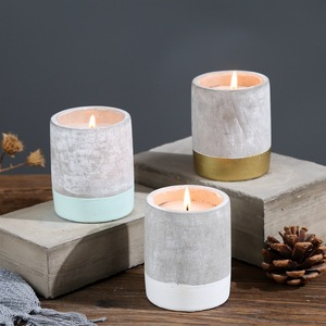 Environmental protection cement concrete jar scented candles cheap soy wax wholesale