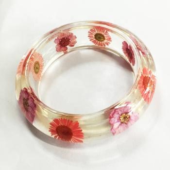 Pink Fl Resin Bangle Dry Flower