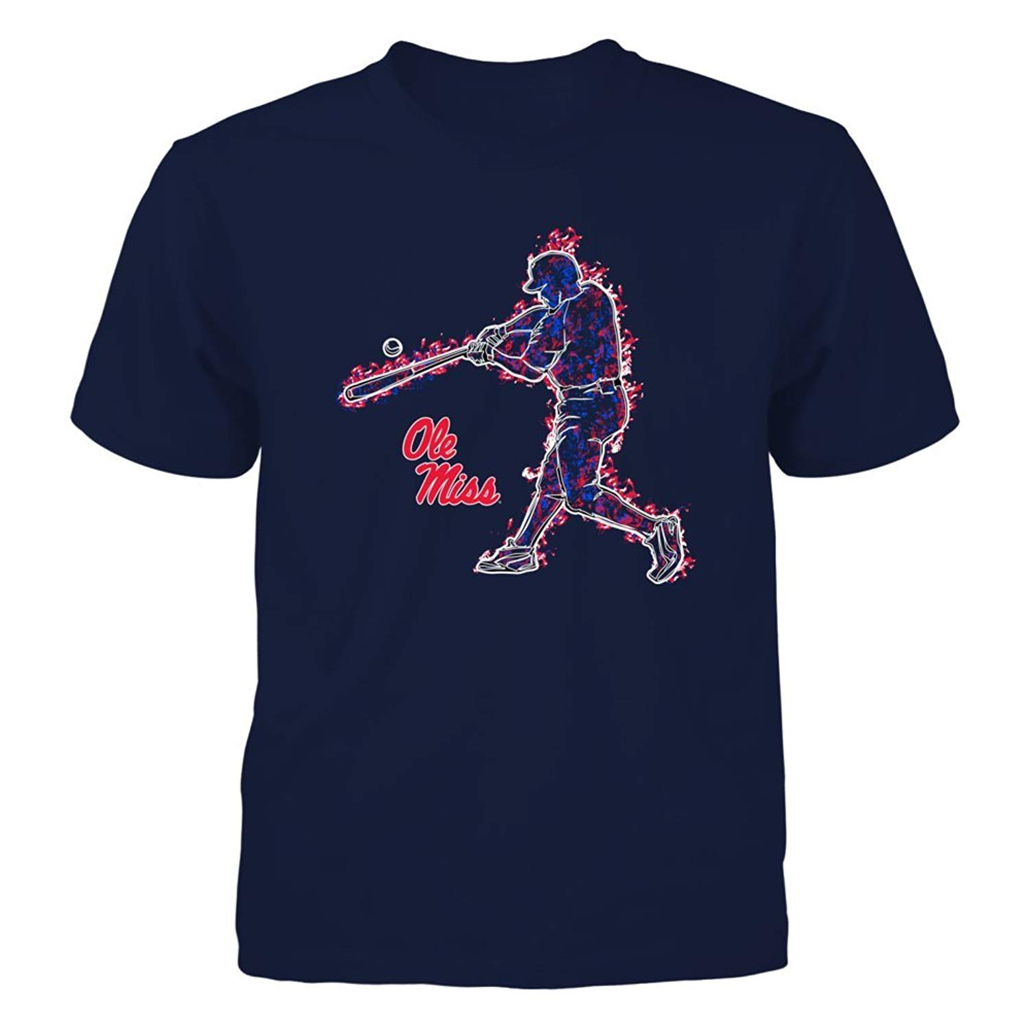new styles 6e873 f5197 Get Quotations · Ole Miss Rebels - Baseball Player On Fire - T-Shirt -  Officially Licensed Fashion