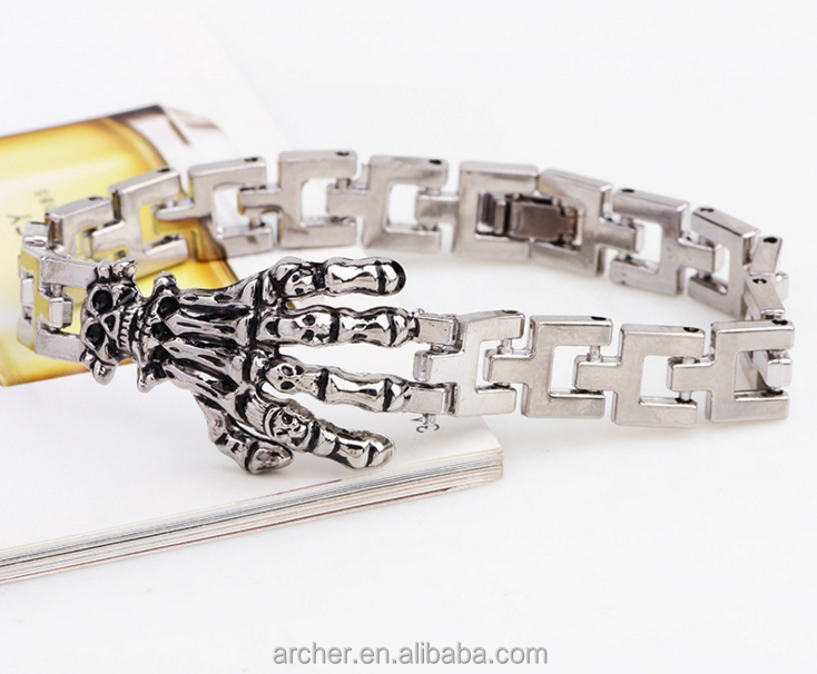 Men's Fashion 316l Stainless Steel Link Skeleton hands Bracelet and boy