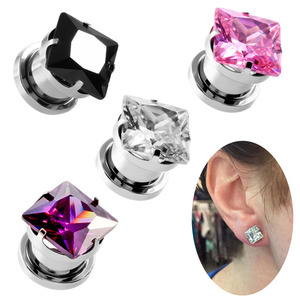Ear Gauges Ear Plugs Stainless Steel Crystal Zircon Fit Stretcher
