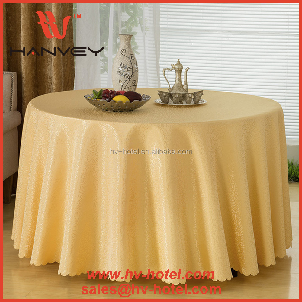 "High quality 132"" round moroccan printed printed hotel gold adhesive table cloth for wedding"