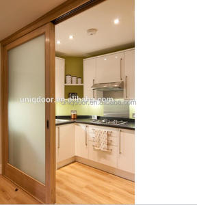 New design single wood glass sliding door for bathroom