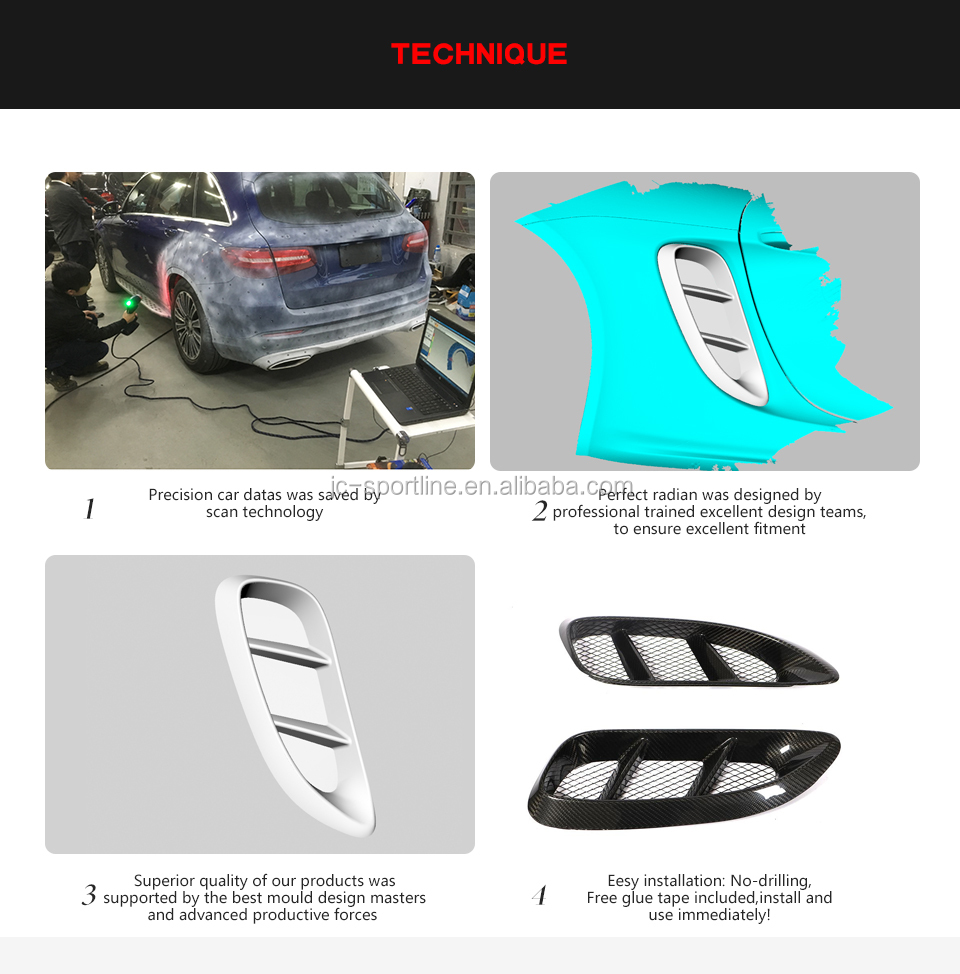 Carbon Fiber Rear Fender Door Vents for Porsche 718 Boxster Cayman 2016-2018