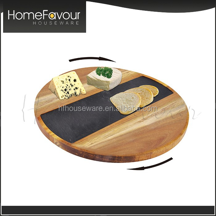 Response in 24 hours Promotional Modern Dishes Plates 3 Pcs Acacia Slate Lazy Susan Set