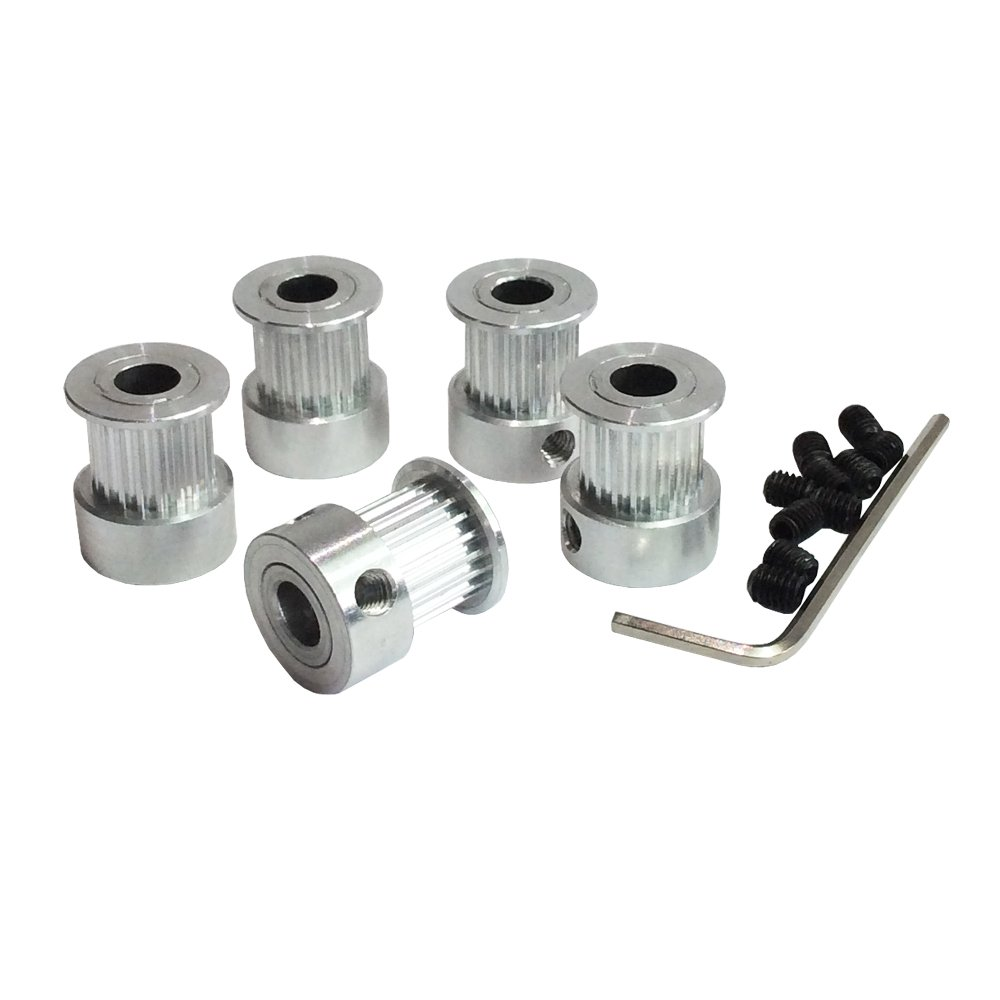 SODIAL 8Pcs 5mm 20 Teeth Aluminum Timing Pulley Wheel+5 Meters Rubber GT2 2mm Pitch 6mm Wide Timing Belt for 3D printer CNC