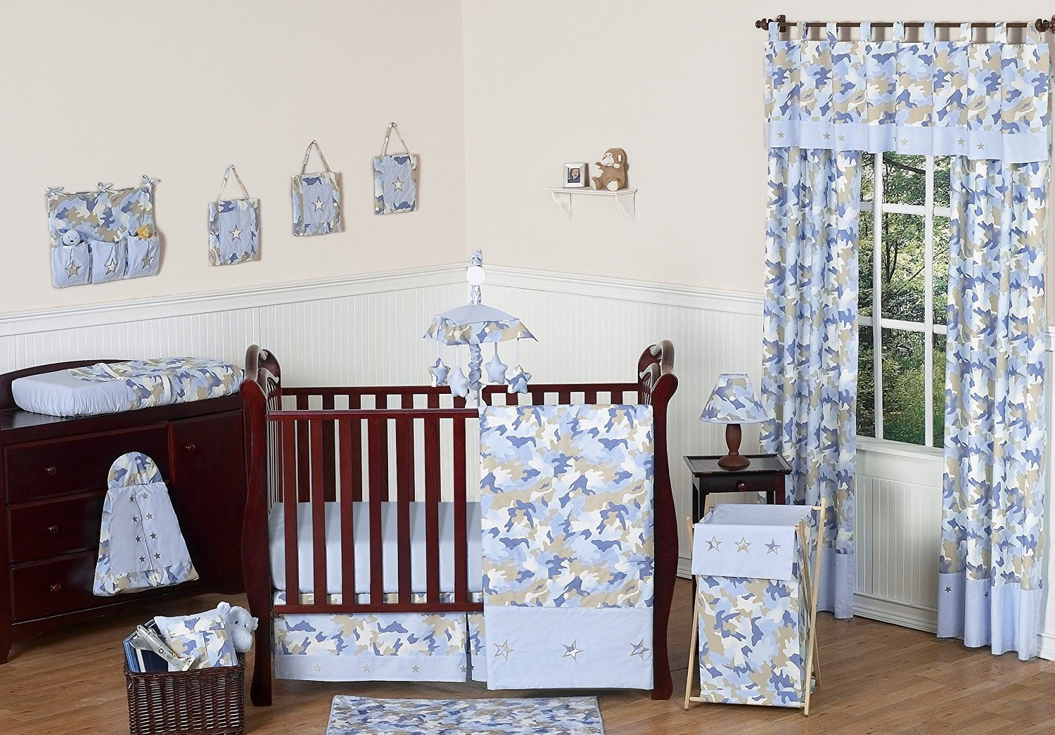 Get Quotations · Khaki And Blue Camo Camouflage Military Baby Boy Bedding  11pc Crib Set Without Bumper
