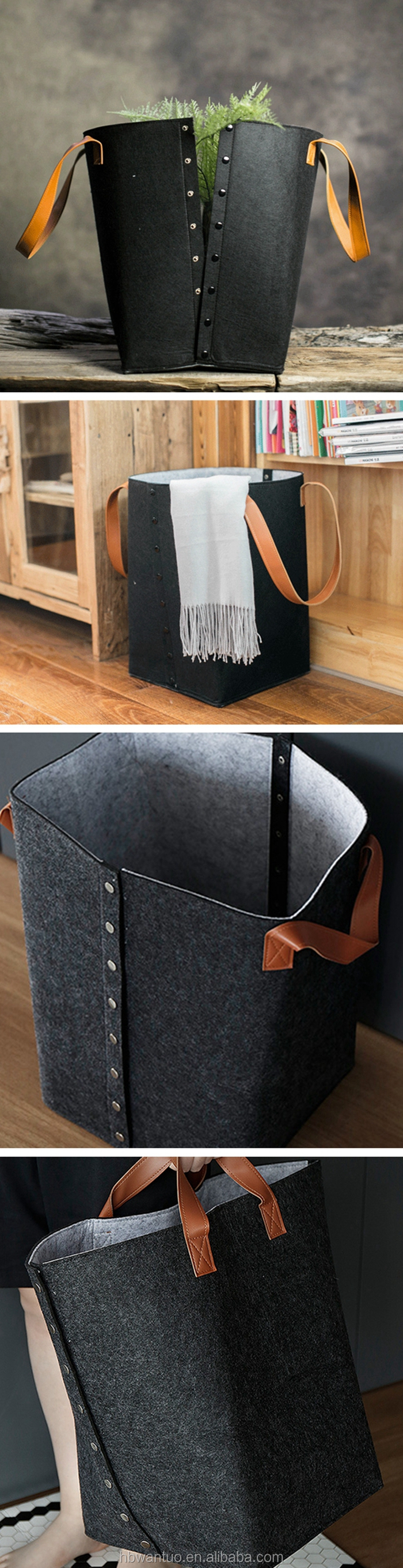 Large felt storage tote school book organizer bin bag