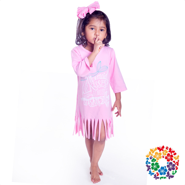 Lovely Pink Color Children Frocks Designs 0-6 Years Old Baby Girl Frocks Soft Cotton Long Sleeve Baby Fancy Frocks