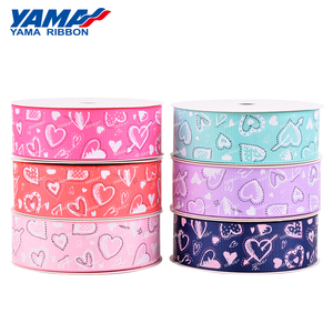 Yama factory heart LOVE pattern printing satin Valentine's Day Ribbon