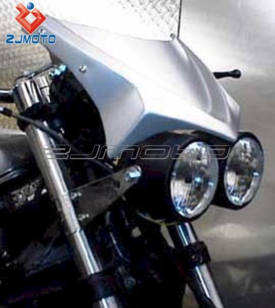 motorcycle headlight universal twin round chrome dominator