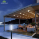 Modern Design PVC Aluminium Retractable Sunshade Awnings with LED Light
