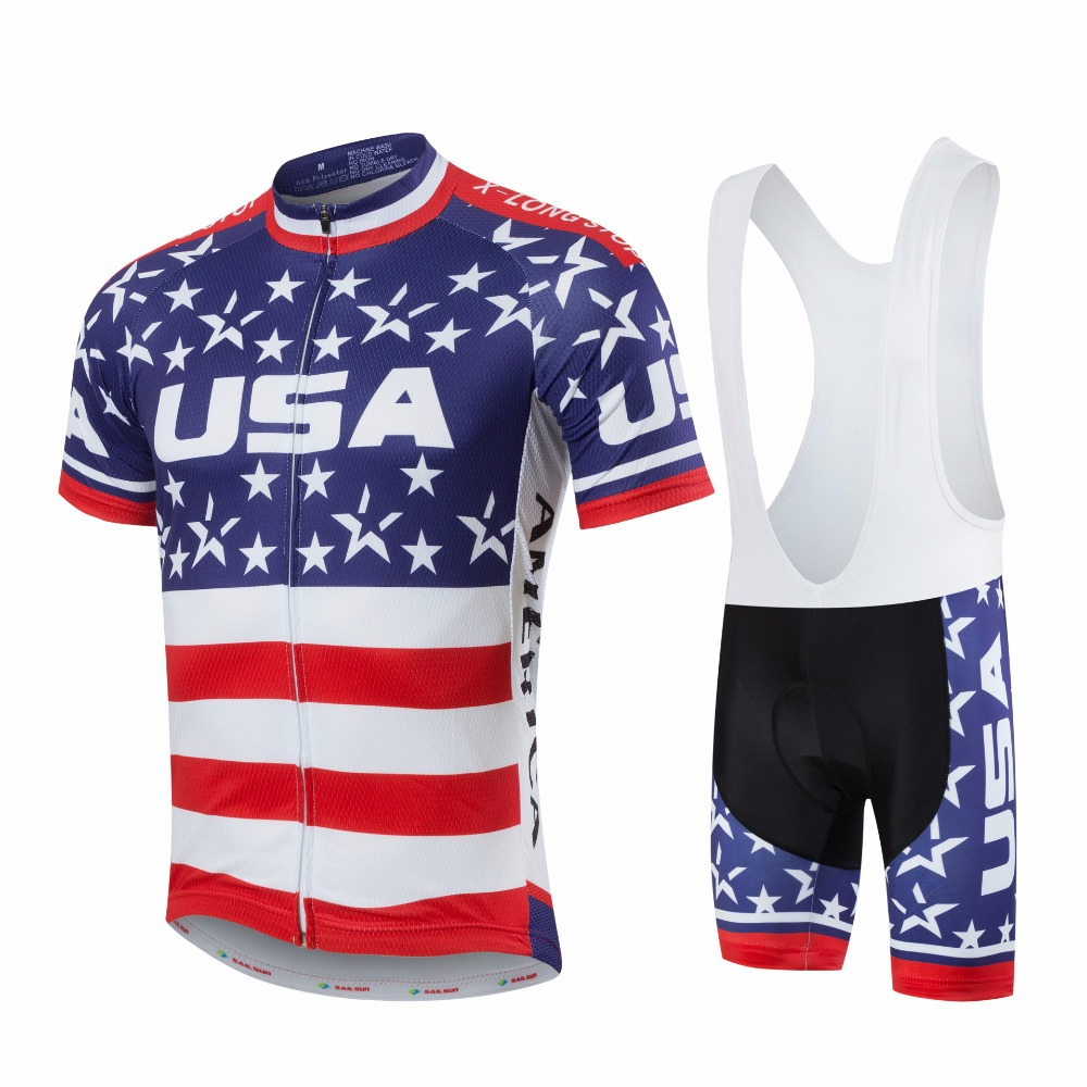 Wholesale OEM Cycling Jersey Sublimation USA Mens Summer Bike Clothes Sets Shorts Bibs