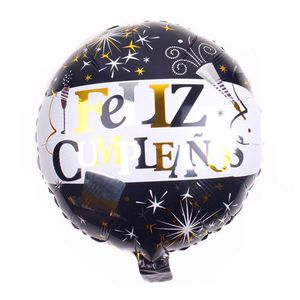Wholesale new products children gift Feliz cumpleanos aluminum helium printing fireworks graphic pattern balloon