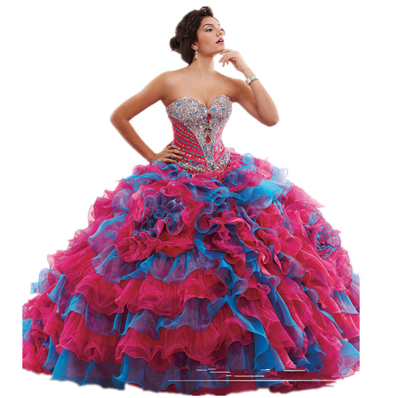2015 Beaded Crytal Quinceanera Dresses For Sweet 16 Girls Cheap Personalized Colorful Two Tone Maxi Floor-Length Ball Prom Gowns