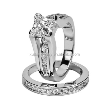 Wide Wedding Band Anniversary Engagement Ring Bridal Set For Women