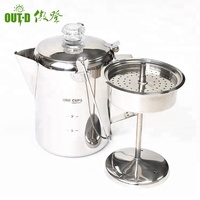 wholesale camping coffee pot outdoor coffee maker stainless steel coffee percolator