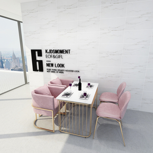 New Style Design Table And Chair Metal Restaurant Commercial Furniture Dining Chair Modern Gold Metal Frame Velvet Chair