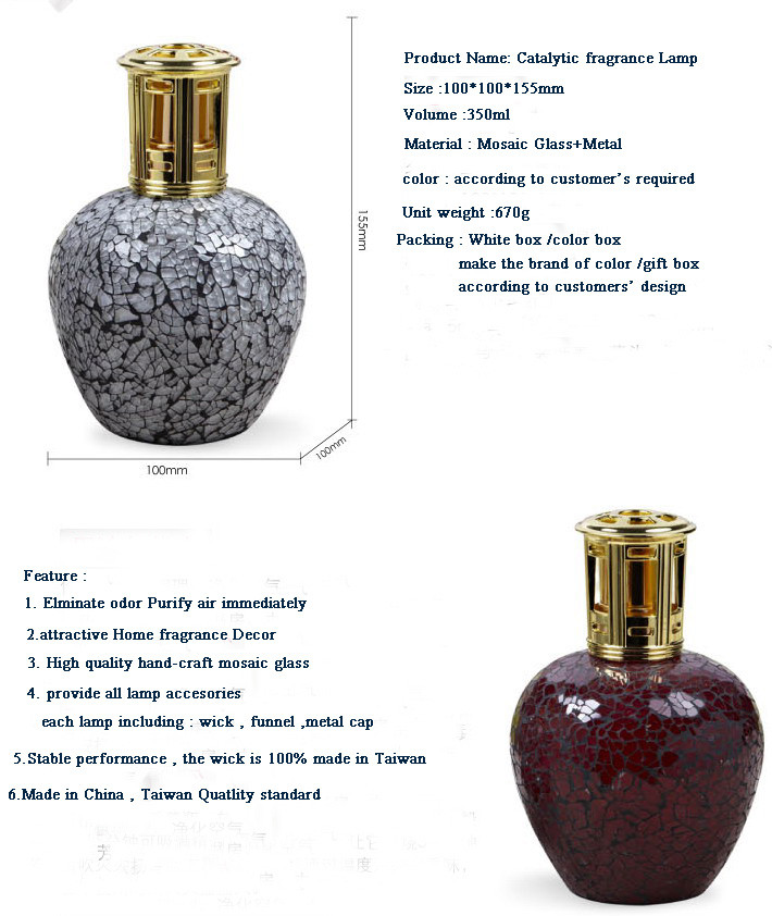 Luxury Mosaic Glass Catalytic Fragrance Lamp , Perfume Lamp Lampe Berger  Style ,home Fragrance Decor