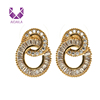 AIDAILA Wholesale Luxury Grade Gold Plated Jewelry 18K Gold Stud Earrings Double Circle Zircon Studs Earring For Women