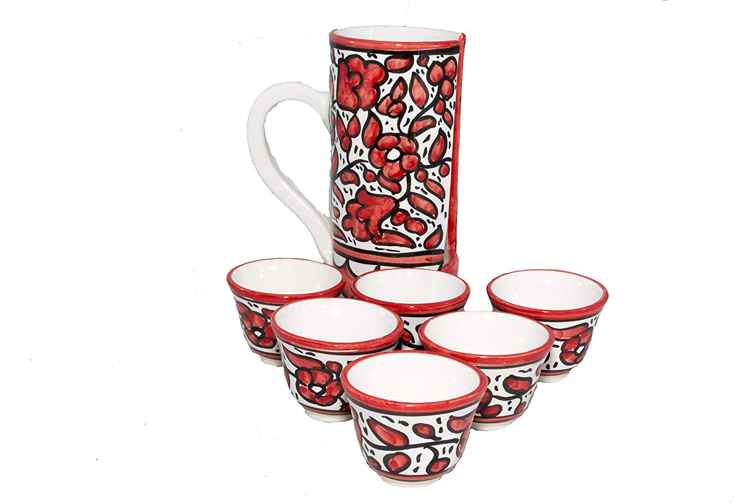 "Arabic Decorative Coffee Cup (2.5 fl. oz.) - Handmade and Hand Painted Ceramic Crafted By Hebron Artisans, 6 Pieces - (2.5"" x 2"" x 2.5"") Holder - (7.3"" x 3.3"" x 7.3"")"
