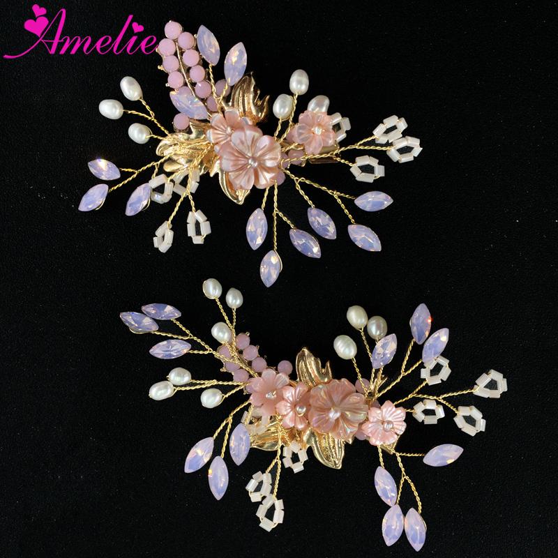 9c9548d459b49 Pembe Boncuk ve Çiçek Sabit Prenses Kız saç tokası Seti Tatlısu Inci Parti Balo  Elbise Aksesuarları