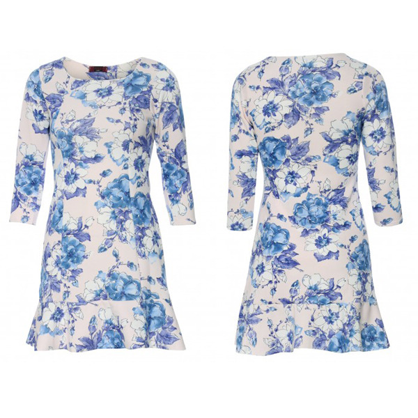 Most Popular Chinese Style Three-Quarter Sleeve Blue Flower Print Dress