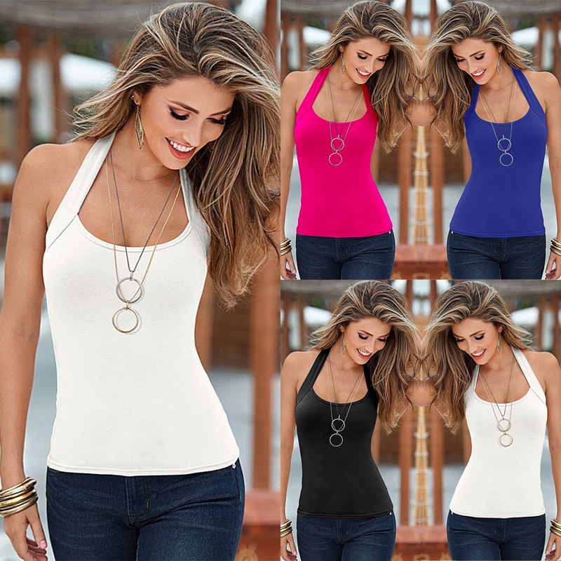 9eefe475a30e FY Fashion ladyTops 2017 pure color gym women s tank tops beach halter tops  sexy women vest