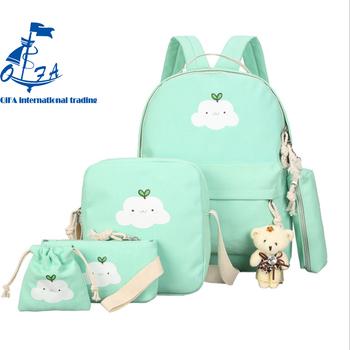 6pcs Set Backpack Women Canvas Laptop Travel Bookbags Age S School Bags