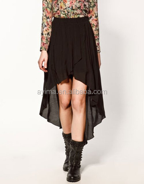hot selling plain black skirt casual chiffon skirt short front and long back skirts