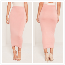 2017 fashion longline jersey midi skirt pink tight women long skirts