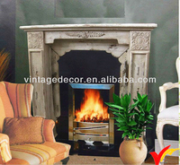 French Farmhouse home decor decorative antique wooden fireplace