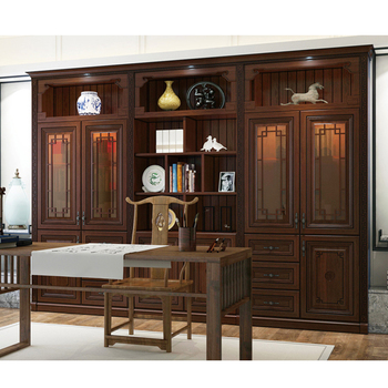 Traditional Chinese Style Design Solid Wood Cloakroom Wardrobe Wine