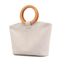 Waxed Canvas Hand Bag With Hard Handle Woman Canvas Shopping Bags