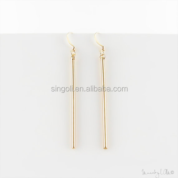 Long Skinny Gold Bar Earrings Minimalist Dainty Dangle Simple Stylish Jewelry Modern Earring