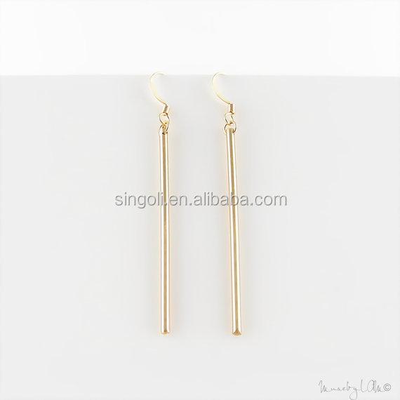 Long Skinny Gold Bar Earrings Minimalist Dainty Dangle Simple Stylish Jewelry Modern Earring