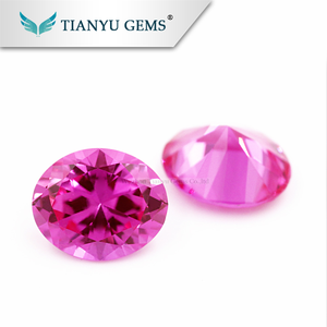 wholesale #3 Big Size Oval Faceted Cut Created Synthetic Rose Ruby On Sale