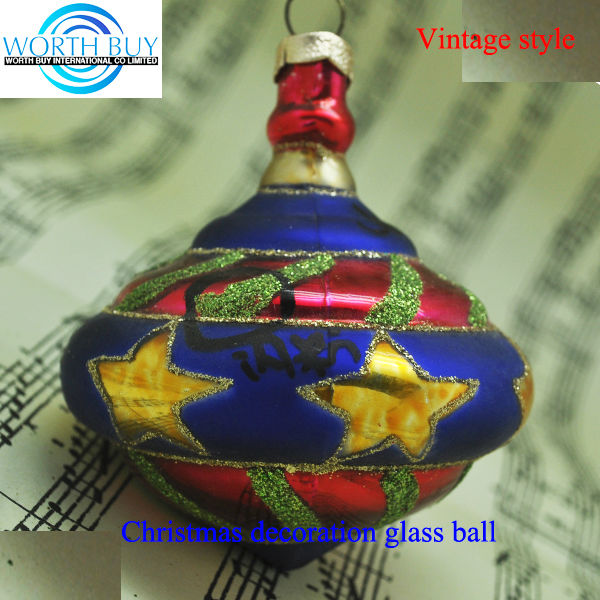Star decorated vintage glass ball ornamet,handmade personalized christmas ornaments