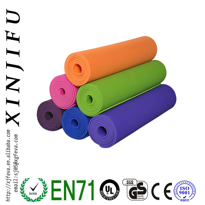 High Quality customized sigle color TPE yoga mat for exercise
