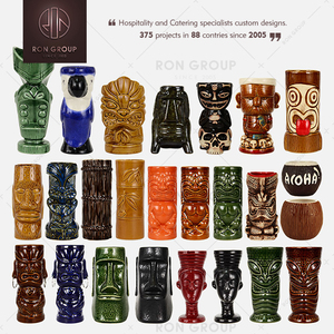 Handmade painting the diiference shape design ceramic tiki mug for pub/party
