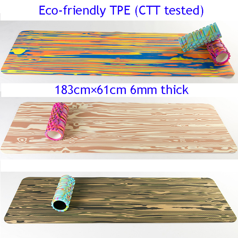 Eco-friendly CTT tested TPE 183 61cm 6mm Thick Camouflage Printed TPE Yoga Mat with free bag and rope
